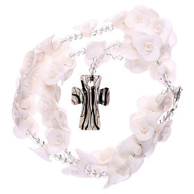 Medjugorje rosary with white roses, Murano glass s4