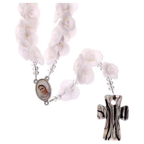 Medjugorje rosary with white roses, Murano glass 1
