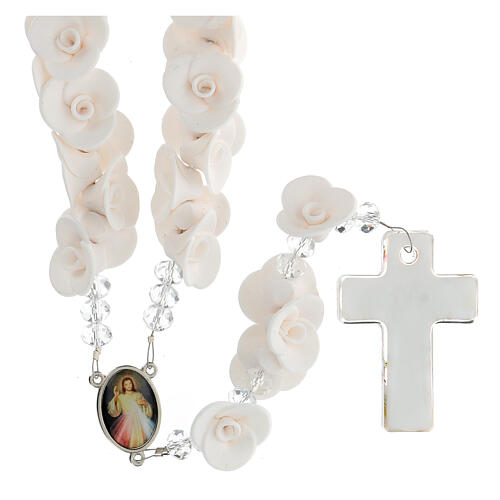 Medjugorje rosary with white roses, Murano glass 2