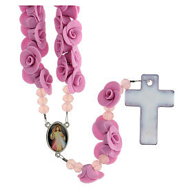 Rosario Medjugorje rosas púrpura cruz vidrio Murano s2
