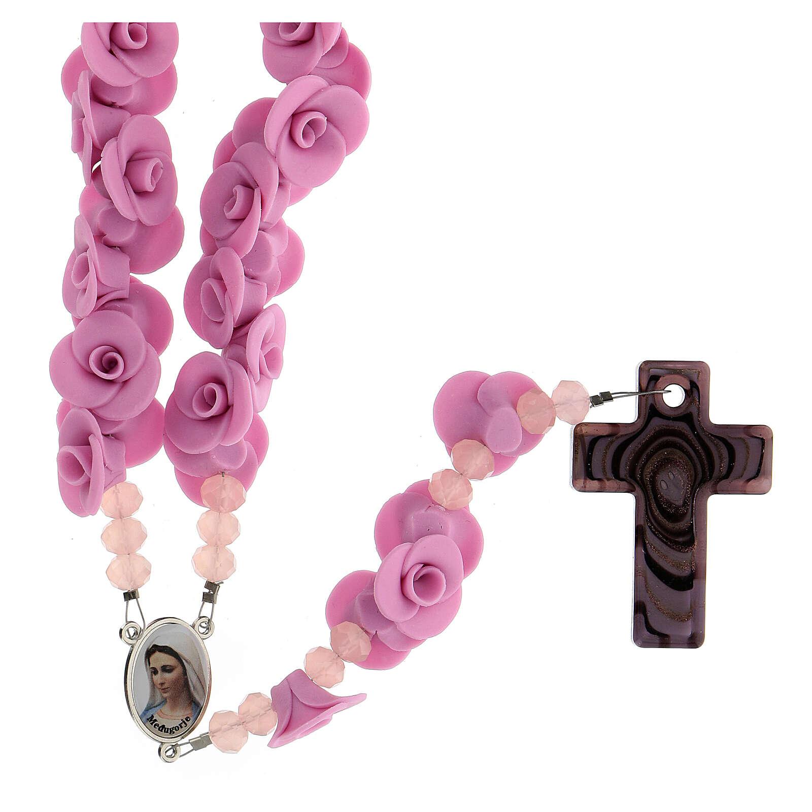 Chapelet Medjugorje roses lilas croix verre Murano 4