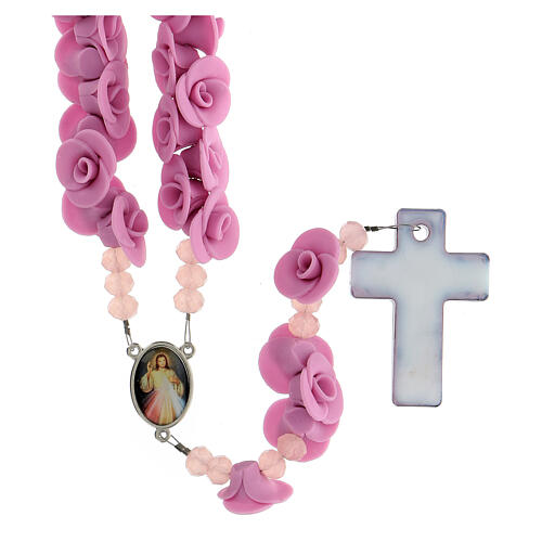 Chapelet Medjugorje roses lilas croix verre Murano 2