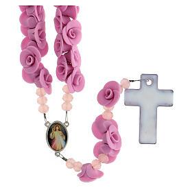 Rosario Medjugorje rose lilla croce vetro Murano s2
