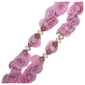 Różaniec Medjugorje róże liliowe krzyż szkło Murano s3