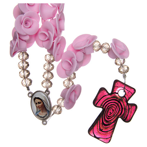 Różaniec Medjugorje róże liliowe krzyż szkło Murano 1