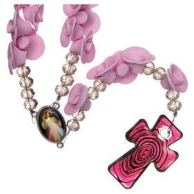 Terço Medjugorje rosas lilás cruz vidro Murano s2