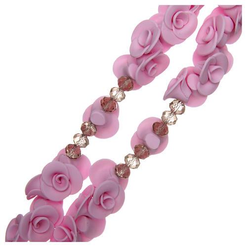 Terço Medjugorje rosas lilás cruz vidro Murano 3