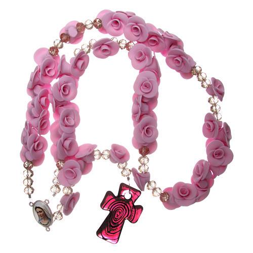 Terço Medjugorje rosas lilás cruz vidro Murano 4