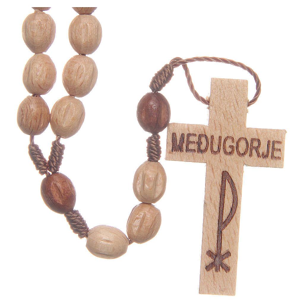 Chapelet bois Medjugorje grains naturels 4