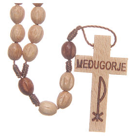 Chapelet bois Medjugorje grains naturels s1