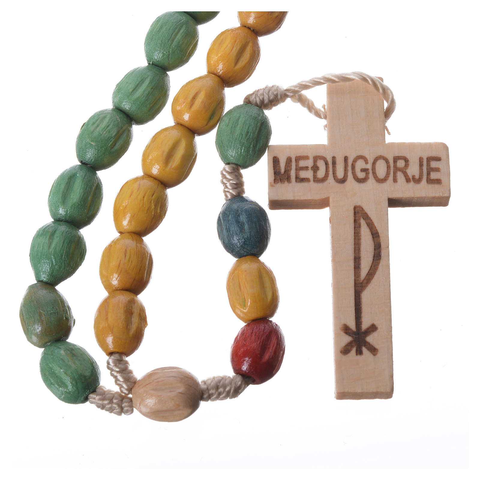 Rosary in Medjugorje wood with coloured grains 4