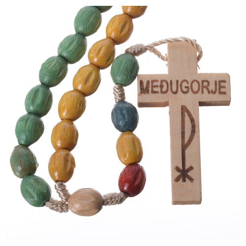 Rosary in Medjugorje wood with coloured grains 1