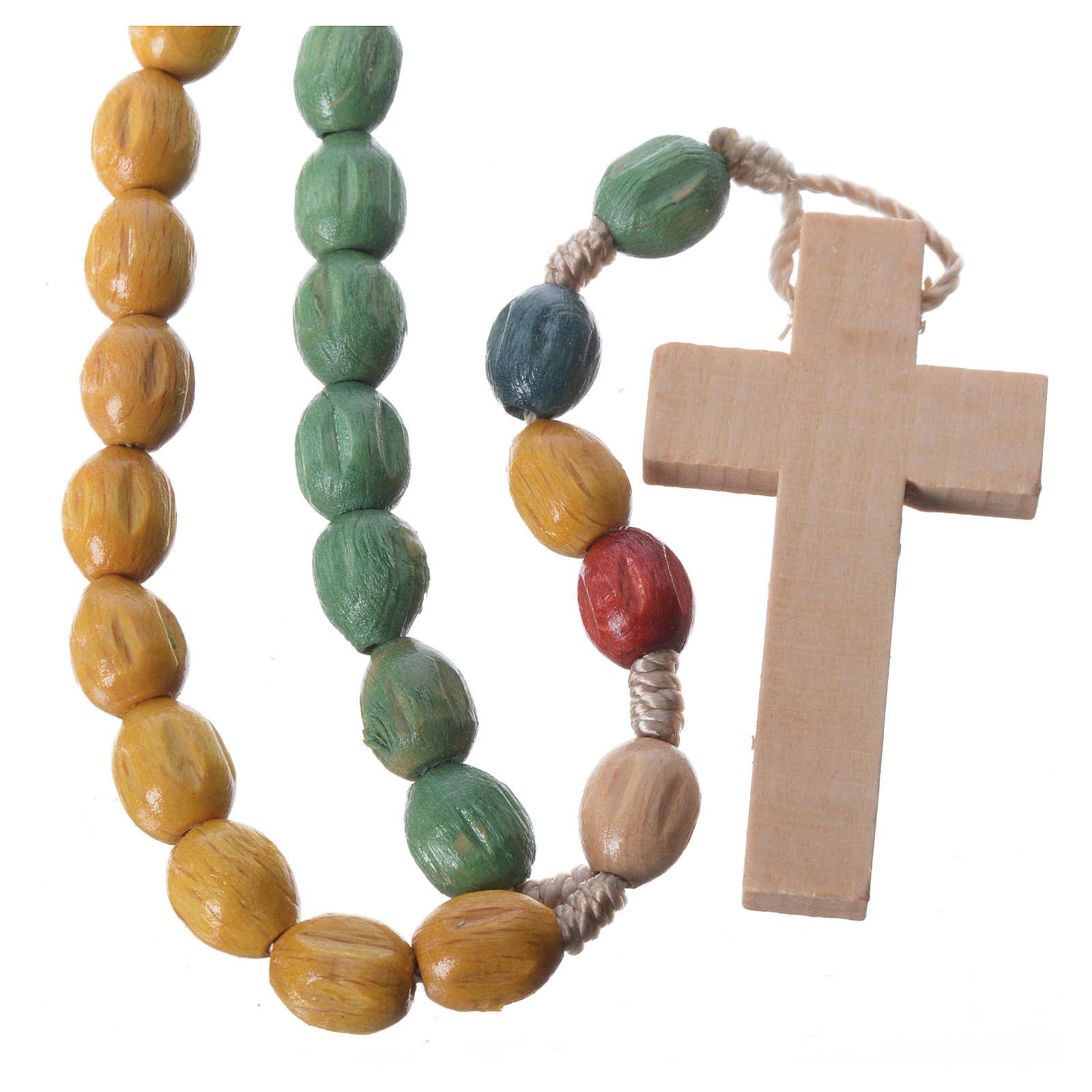 Rosario in legno Medjugorje con grani colorati 4