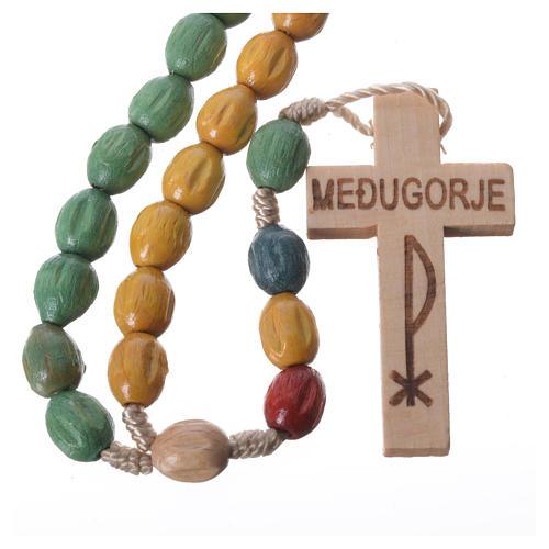Rosario in legno Medjugorje con grani colorati 1