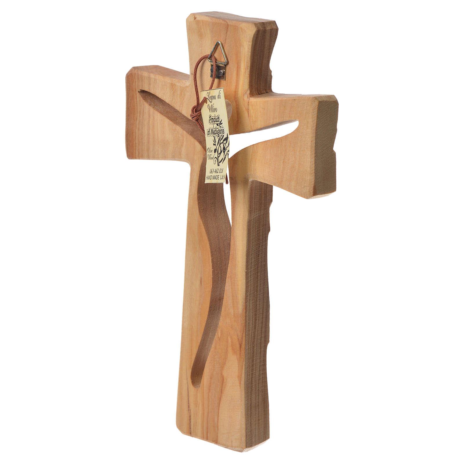 Medjugorje Cross in olive wood measuring 19x11cm 4