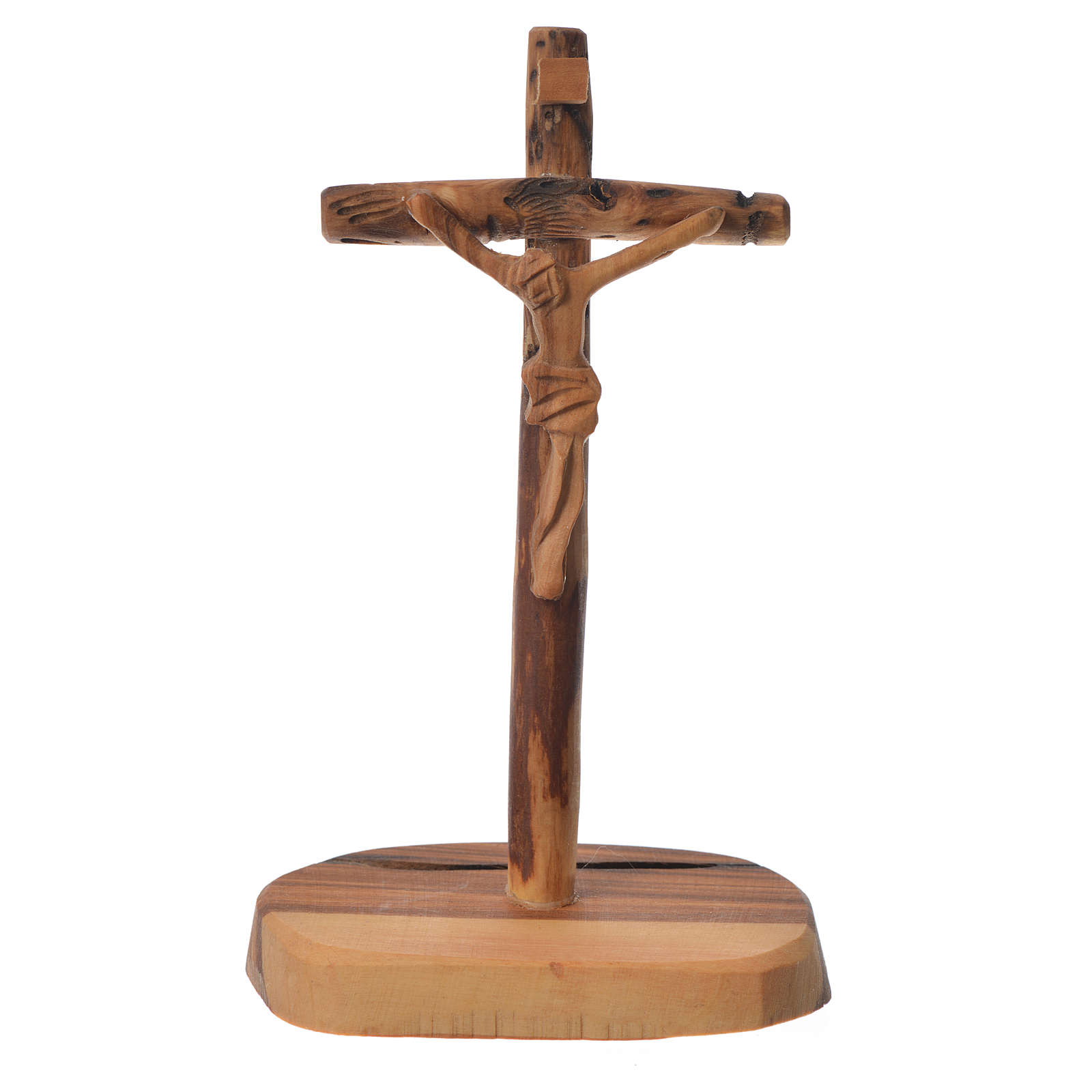 Krzyż drewno oliwne Medziugorie z podstawą 15x7 cm 4