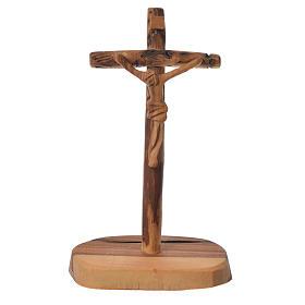 Krzyż drewno oliwne Medziugorie z podstawą 15x7 cm s1