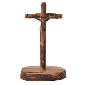 Krzyż drewno oliwne Medziugorie z podstawą 15x7 cm s2