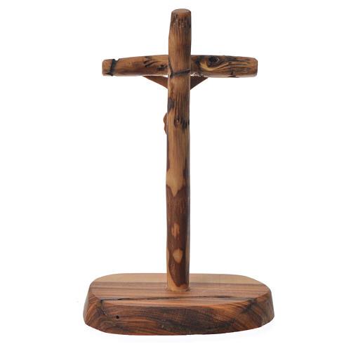 Krzyż drewno oliwne Medziugorie z podstawą 15x7 cm 2