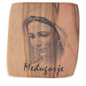 Magnet in Medjugorje olive wood 5x4cm s1