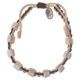 Bracelets, dizainiers: Bracelet Medjugorje cordon bicolore grains en pierre