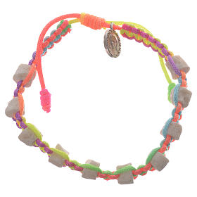 Bracelets, peace chaplets, one-decade rosaries: Single decade Medjugorje bracelet with multicoloured cord and stone grains