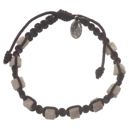 Single decade Medjugorje bracelet with brown cord and stone grains 1
