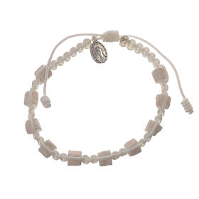 Single decade Medjugorje bracelet with white cord and stone grains s1