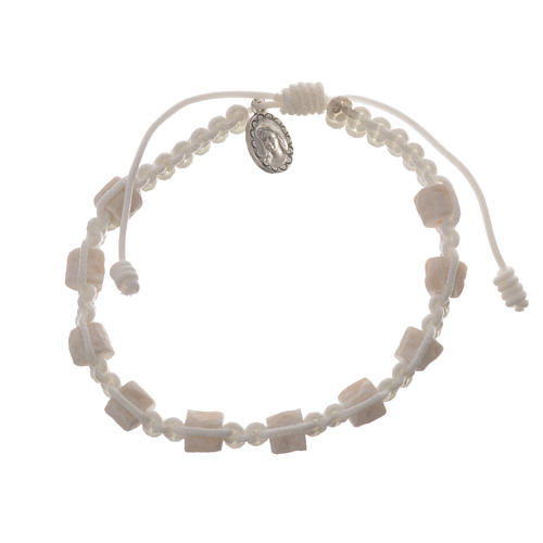 Single decade Medjugorje bracelet with white cord and stone grains 1