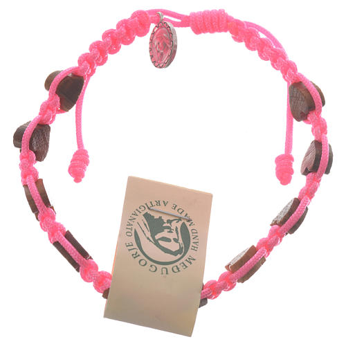 Pulsera corazón olivo Medjugorje rosa 1