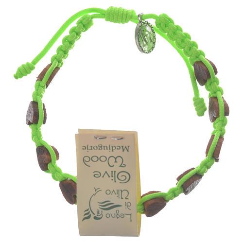Bracciale cuore ulivo Medjugorje verde 1