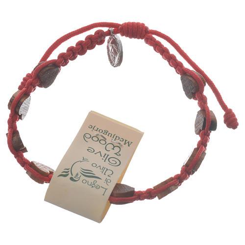 Bracciale cuore ulivo Medjugorje rosso 1
