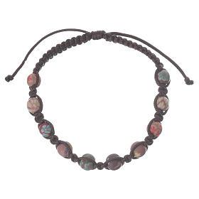 Bracelets, dizainiers: Bracelet fimo Medjugorje marron