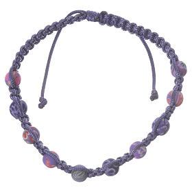 Bracelets, dizainiers: Bracelet fimo Medjugorje violet