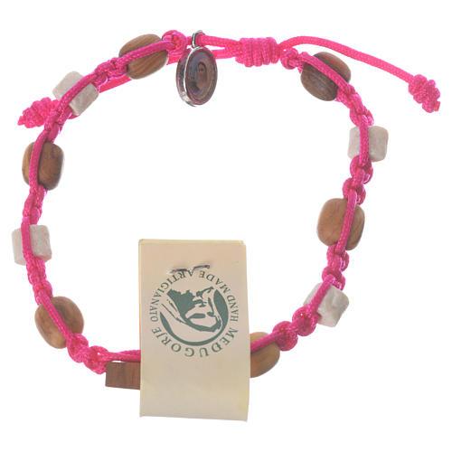 Bracelet olivier Tau Medjugorje rose 1