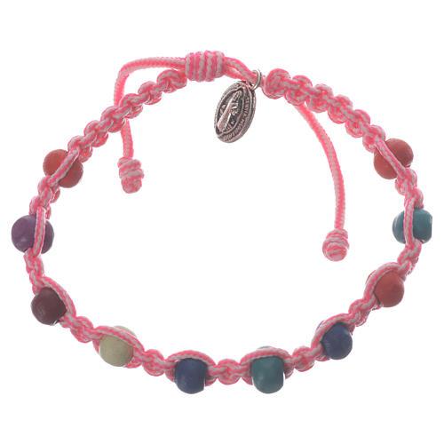 Pulsera decena niño Medjugorje hilo rosa-blanco 1