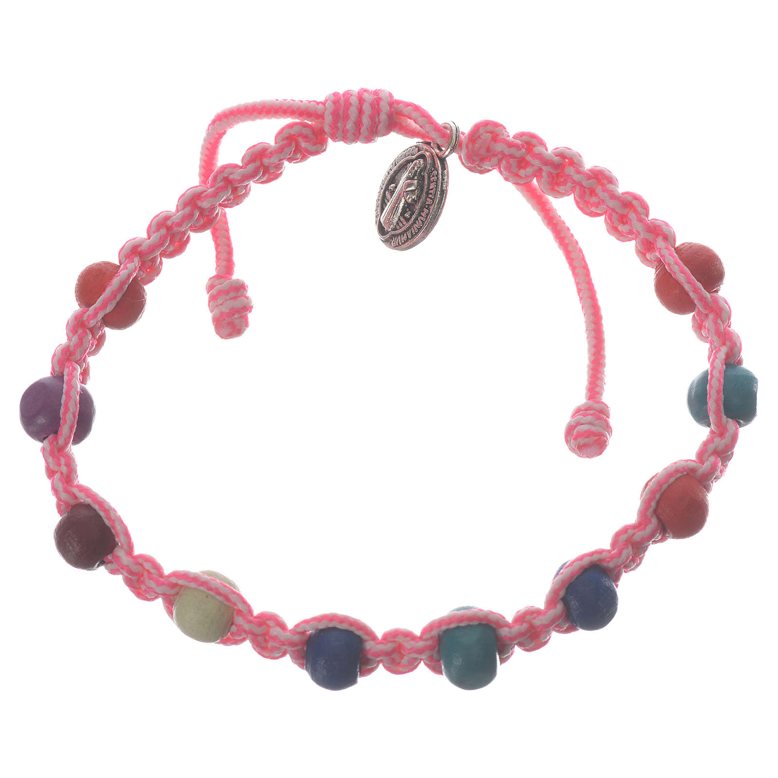 Bracelet dizainier enfant Medjugorje rose-blanc 4