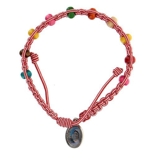 Bracelet dizainier enfant Medjugorje rose-blanc 1