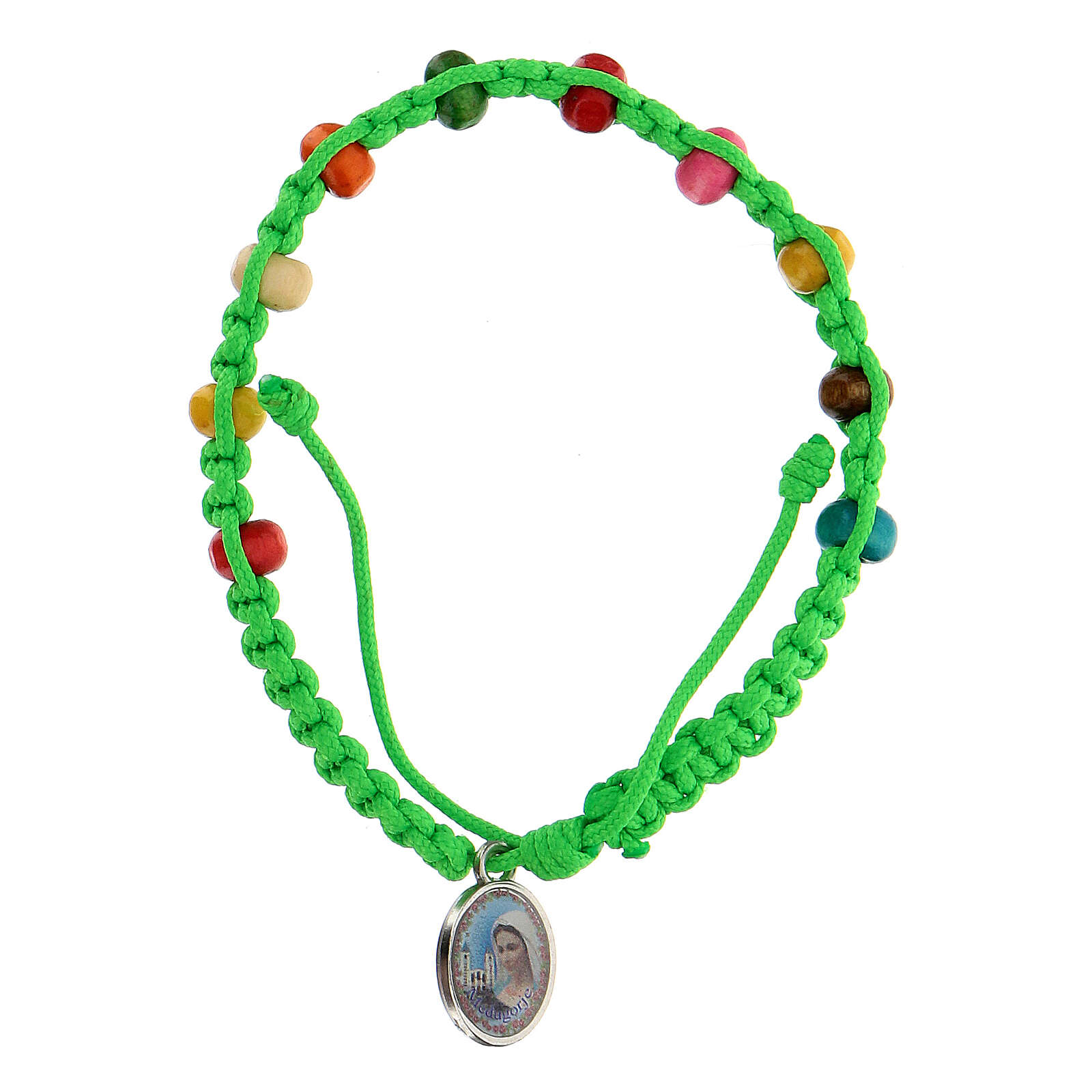 Single decade bracelet for child Medjugorje green 4