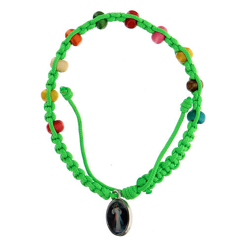 Single decade bracelet for child Medjugorje green 2