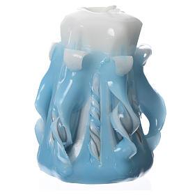Medjugorje candle light blue 8x4.5cm s2