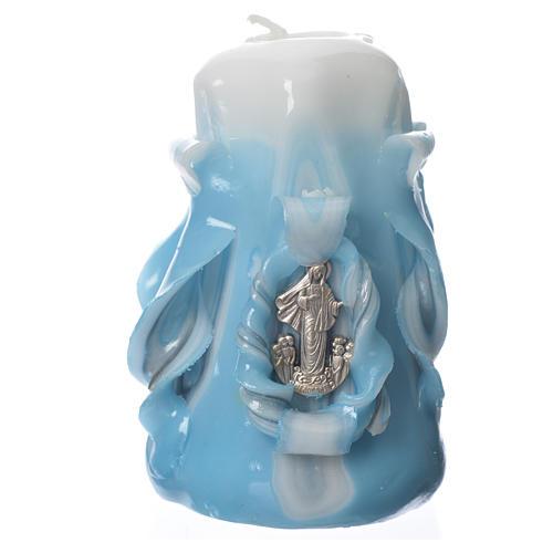 Medjugorje candle light blue 8x4.5cm 1