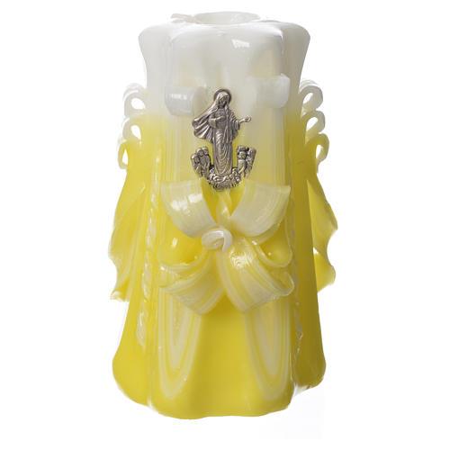 Candela Medjugorje giallo 16x8 cm 1
