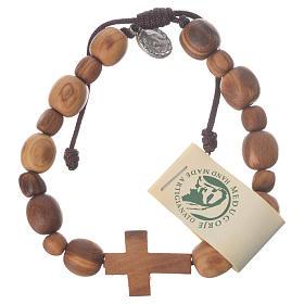 Bracelets, dizainiers: Bracelet en olivier de Medjugorje croix