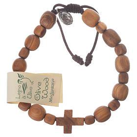 Bracelets, peace chaplets, one-decade rosaries: Medjugorje bracelet in olive wood with cross 2x1,5 cm
