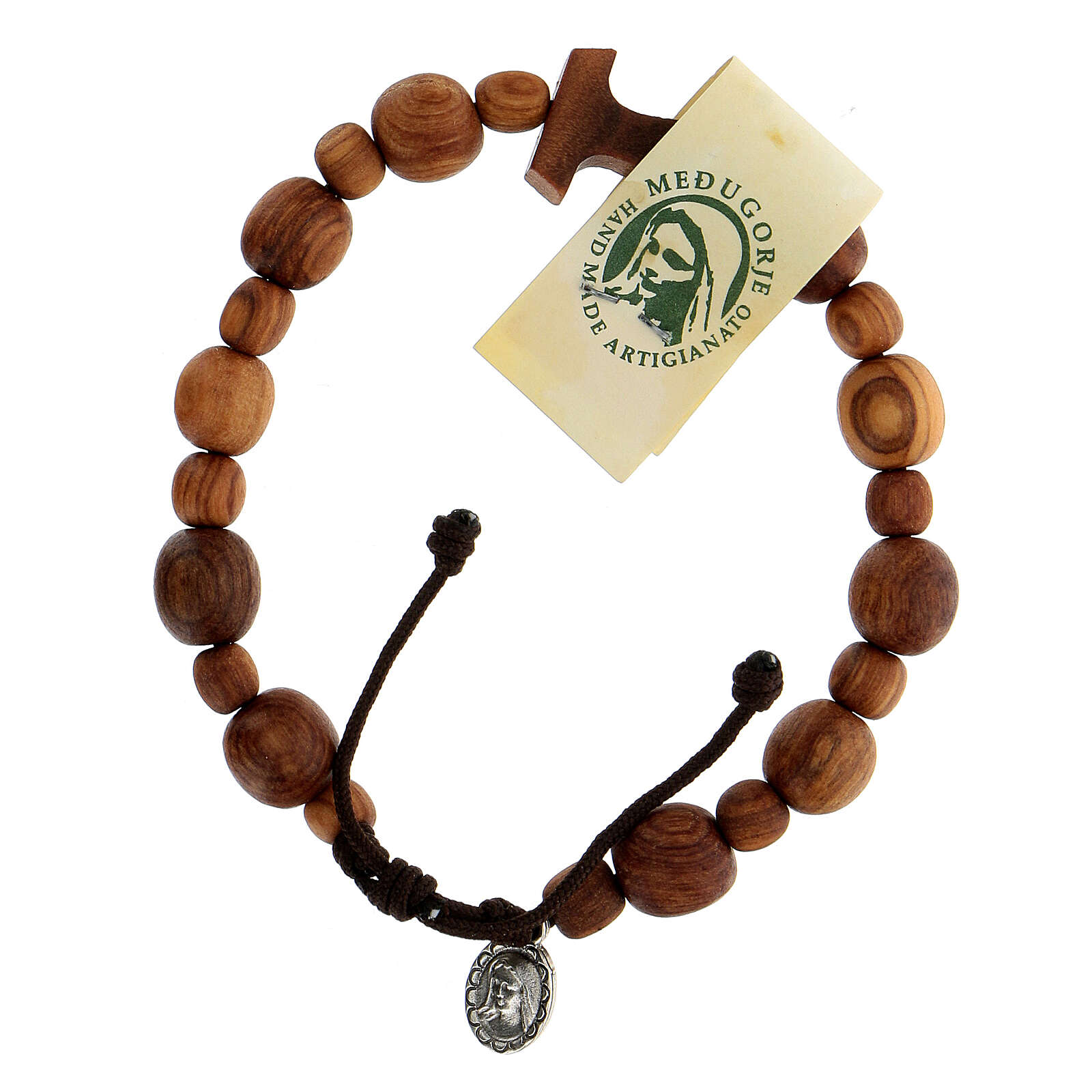 Medjugorje bracelet in olive wood with Tau cross 4