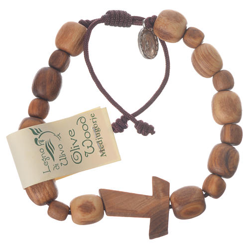 Medjugorje bracelet in olive wood with Tau cross 1