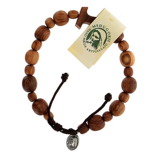 Medjugorje bracelet in olive wood with Tau cross 1