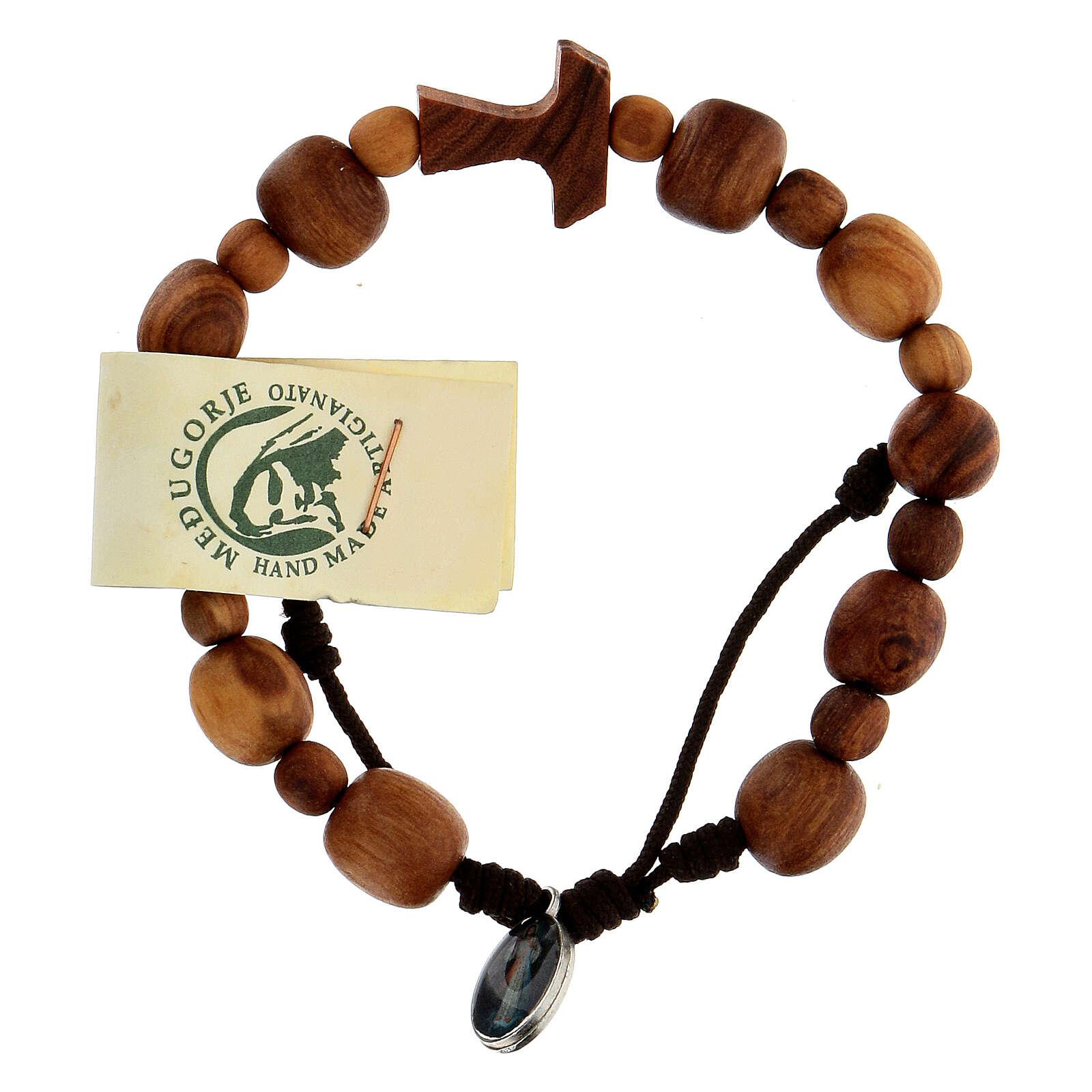 Bracelet en olivier de Medjugorje Tau 4