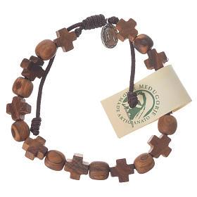 Bracelets, dizainiers: Bracelet olivier Medjugorje grains croix